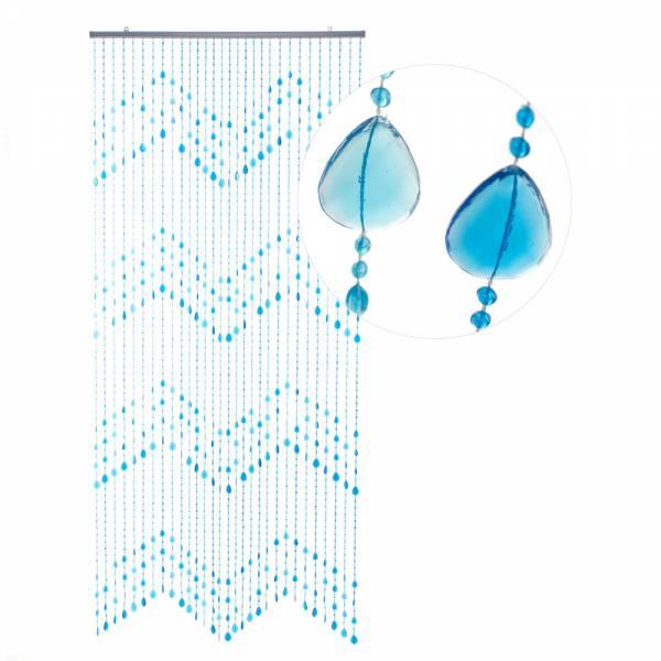 Gardinen und Vorhänge - Türvorhang Perlenvorhang mit Pailetten KLUNKER Farbe blauhellblau 90 x 200 cm  - Onlineshop Hab und Gut Design